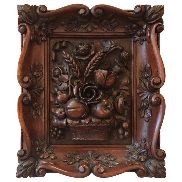 Austrian Hand-Carved Walnut Framed Floral Plaque