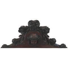 French Hand-Carved Mahogany Pediment Plaque