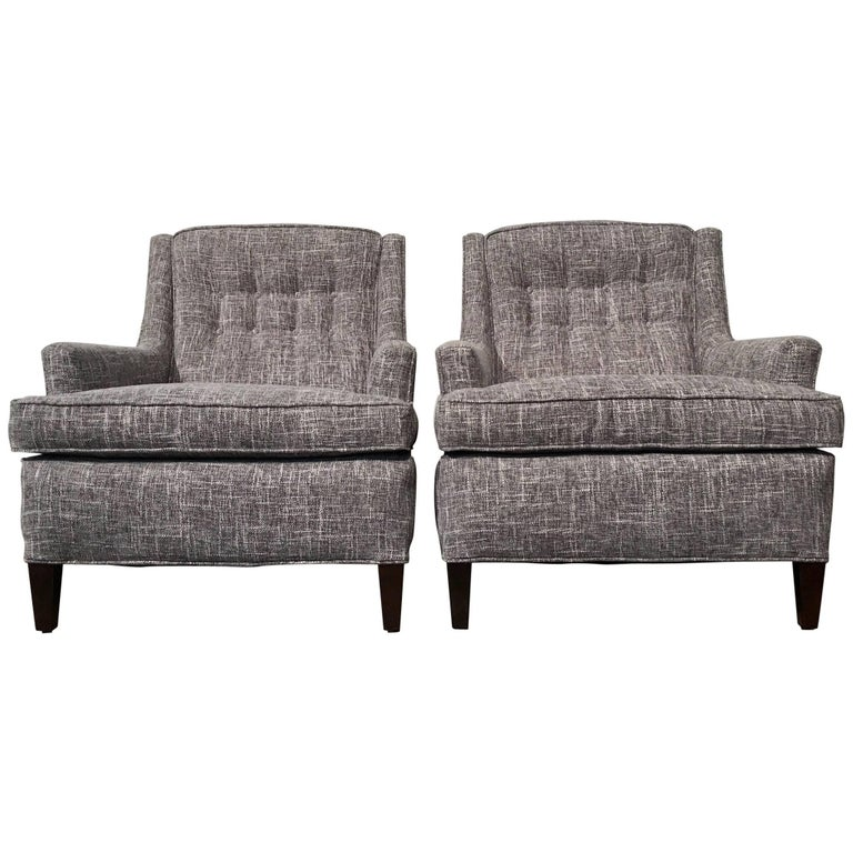 Pair of Restored Mid-Century Modern Lounge Chairs, Gray Upholstery