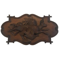 19th Century Black Forrest Hunting Frieze Plaque