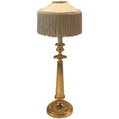 French Gilt Candlestick Lamp with Fringed Shade