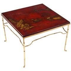 French Brass Cocktail Table with Antique Asian Red Lacquerd Top