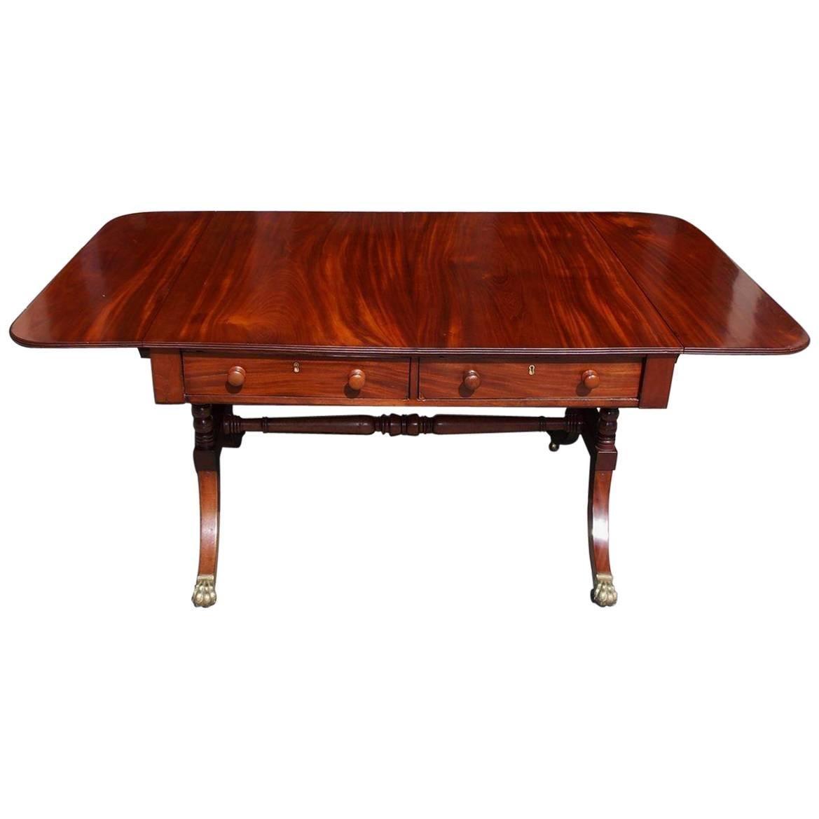 English Mahogany Drop-Leaf Sofa Table on Lion Paw Brass Casters, Circa 1790