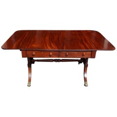English Mahogany Drop-Leaf Sofa Table on Lion Paw Brass Casters, Circa 1790