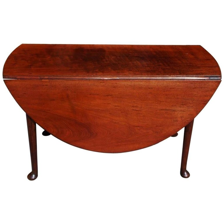 English Queen Anne Walnut Oval Drop Leaf Table With Pad Feet Circa 1740