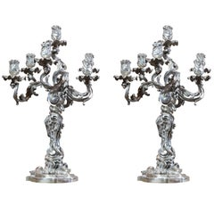 19th Century Froment-Meurice Bronze and Silver Pair of Candelabras from Paris