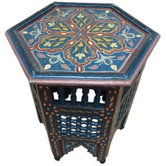 Moroccan Hand-Painted Blue Side Table with Moorish Designs