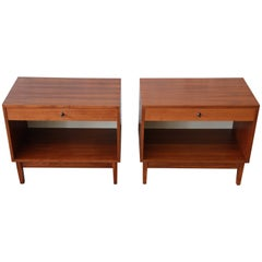 Kipp Stewart for Calvin Mid-Century Modern Walnut Nightstands, Pair