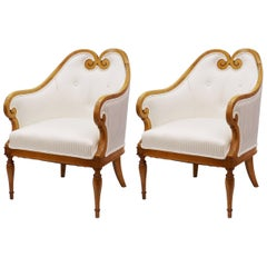 Biedermeier Occasional Chairs with White Stripe Upholstery