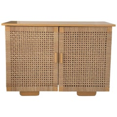 Solid Wood Midcentury Michael van Beuren Credenza with Woven Doors by Luteca