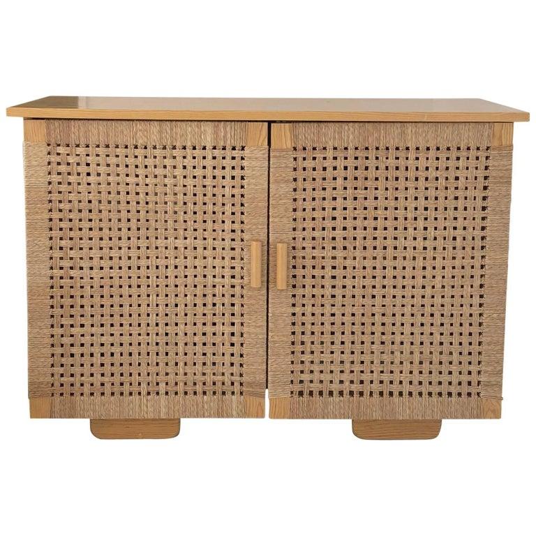 Solid Wood Midcentury Michael van Beuren Credenza with Woven Doors by Luteca For Sale