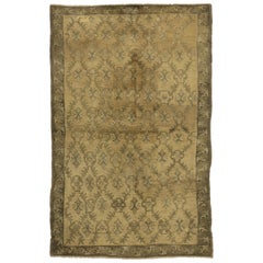 Vintage Turkish Oushak Rug with Empire Regency Style and Golden Colors