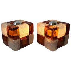 Pair of Lamps Glass Cube by Poliarte, Italy, 1970s
