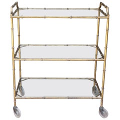 Italian Vintage Small Gilded Iron Bar Cart