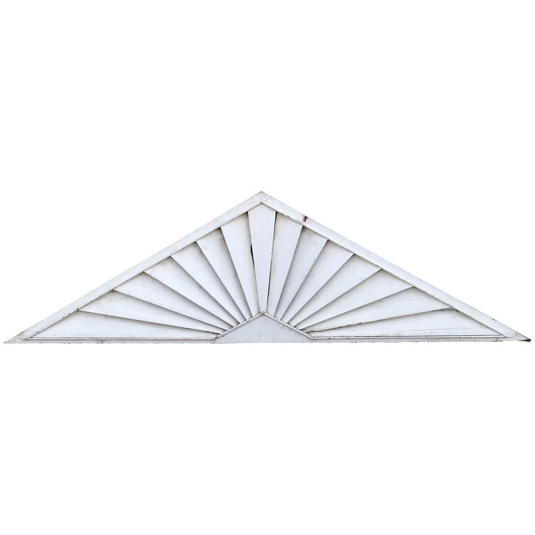 Painted Wooden Louvered Triangle Architectural Transom or Door Fan For Sale
