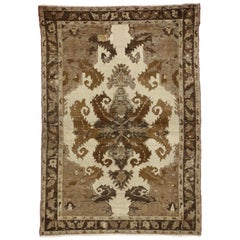Distressed Vintage Turkish Oushak with Black Forest Style, Warm Earth Tones
