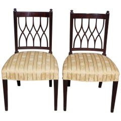 Pair of English Mahogany Sheraton Reeded and Upholstered Side Chairs, Circa 1800