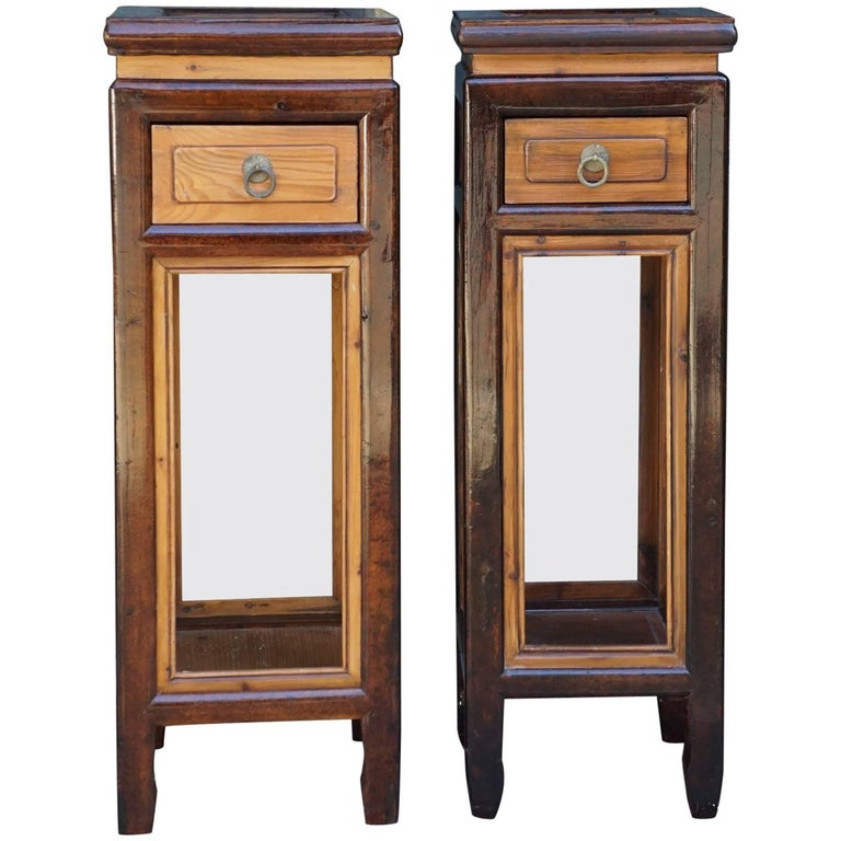 Pair of Chinese Provincial Elm and Lacquer Late 19th Century Stands