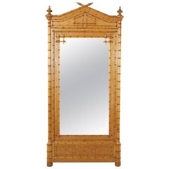French Bird's-Eye Maple and Cherrywood Faux Bamboo Armoire with Mirror