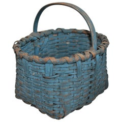 19th Century Basket Original Robin Egg Blue Painted Basket