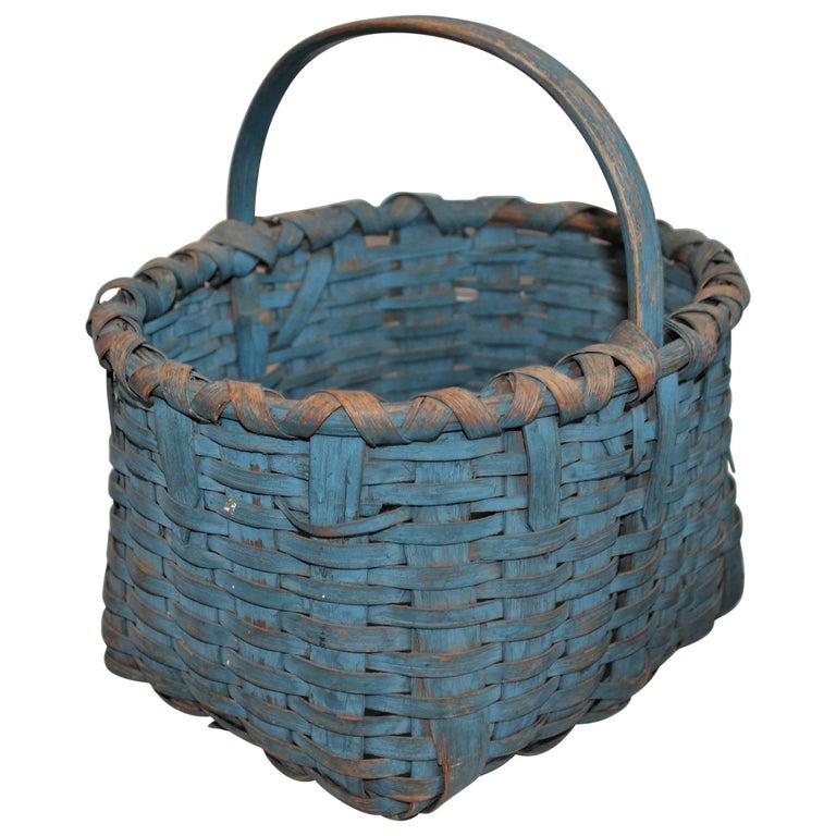 19th Century Basket Original Robin Egg Blue Painted Basket For Sale