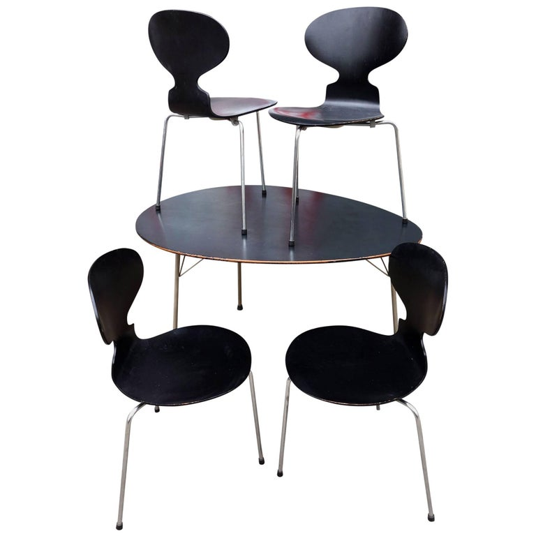 Midcentury Arne Jacobsen Egg Table and Ant Chair Set For Sale