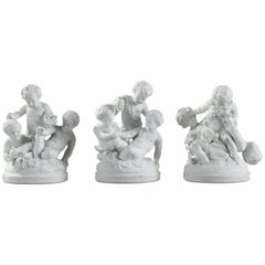 Late 19th Century Three Bisque Porcelain Children Playing Groups in Sevres Style