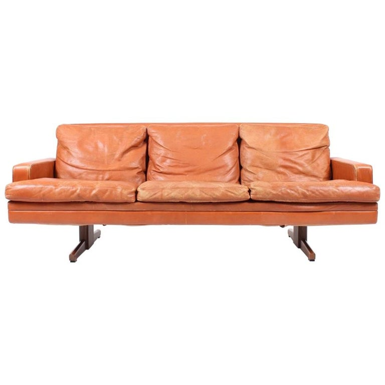 Sofa in Patinated Leather by Fredrik Kayser