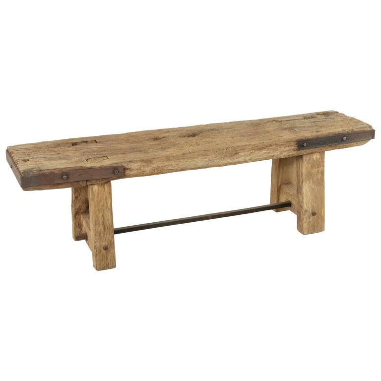 Long Rustic French Oak Bench in Natural Finish with Iron Corners and Crossbar