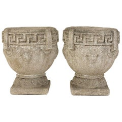 Pair of Vintage Regency Style Concrete Planters