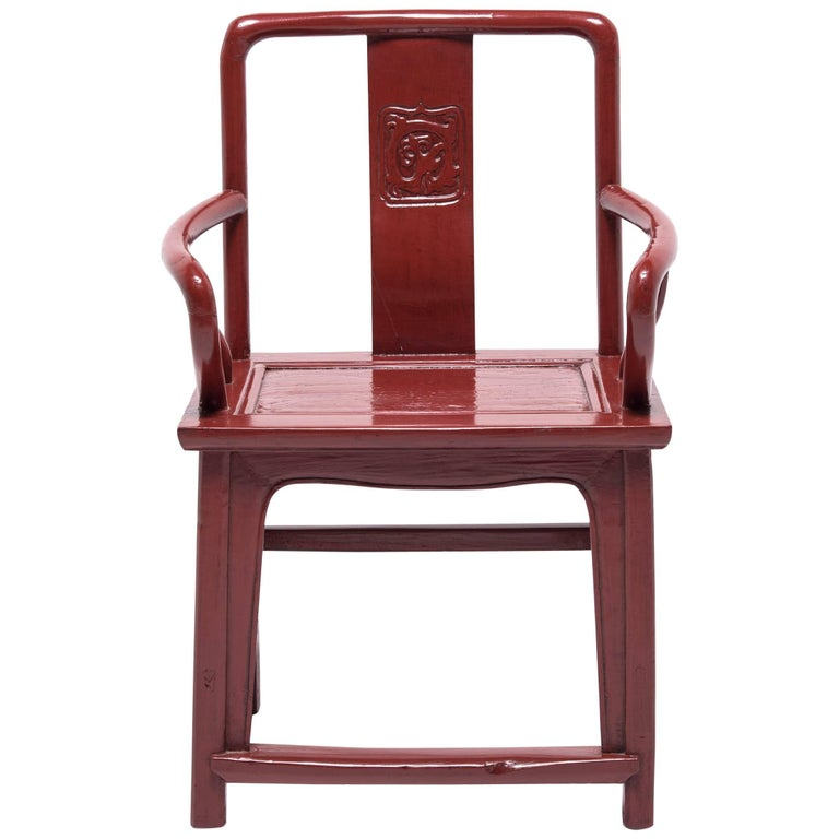 Early 20th Century Chinese Red Lacquer Official's Chair For Sale