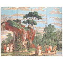 Early 19th Century French Wallpaper Panel Screen
