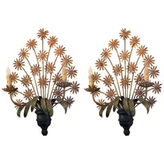 Pair of Antique French Tole Wall Sconces, circa 1920-1940