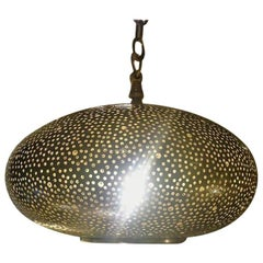 Small Oval Brass Pendant Chandelier