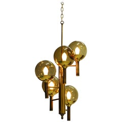 Svend Mejlstrøm Glass and Brass Chandelier