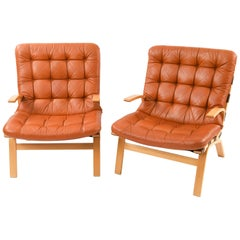 Pair of Bentwood Lounge Chairs by Farstrup Møbler, 1970s