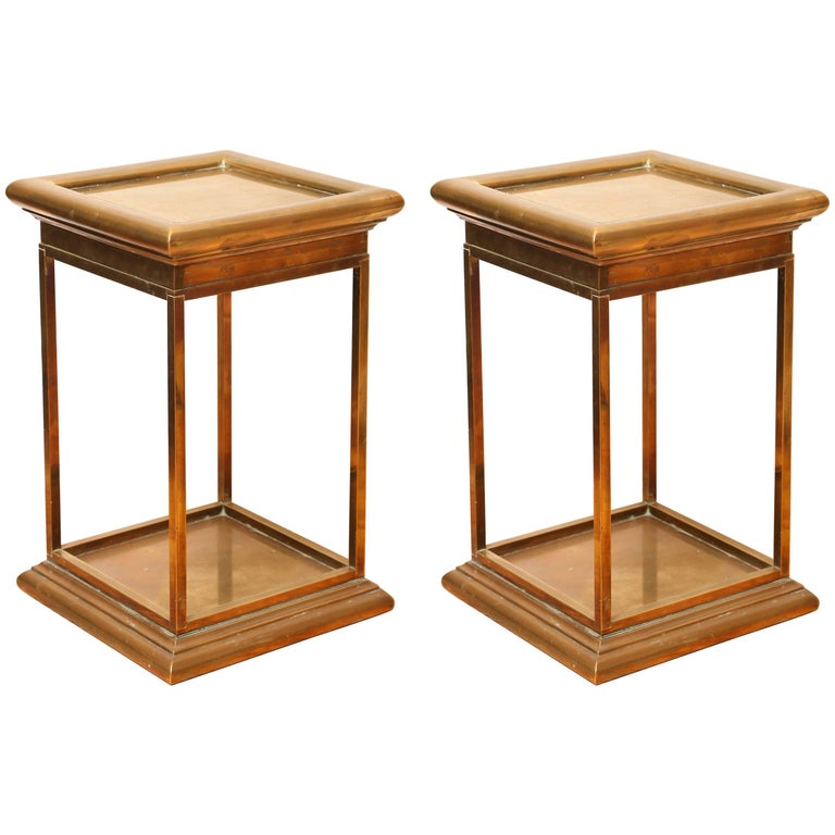 Pair of Vintage Solid Brass Side Tables by Chapman