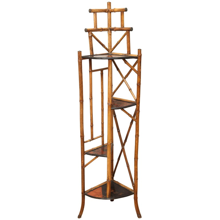 Antique Bamboo Corner Cabinet For Sale
