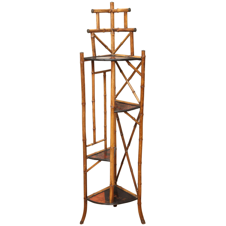 Antique Bamboo Corner Cabinet
