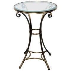Single Jansen Style Brass and Glass Top Gueridon End Table