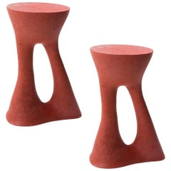Pair of Tall Red Kreten Side Tables from Souda, Made to Order