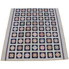 19th Century Nine Patch Bars Quilt / Large