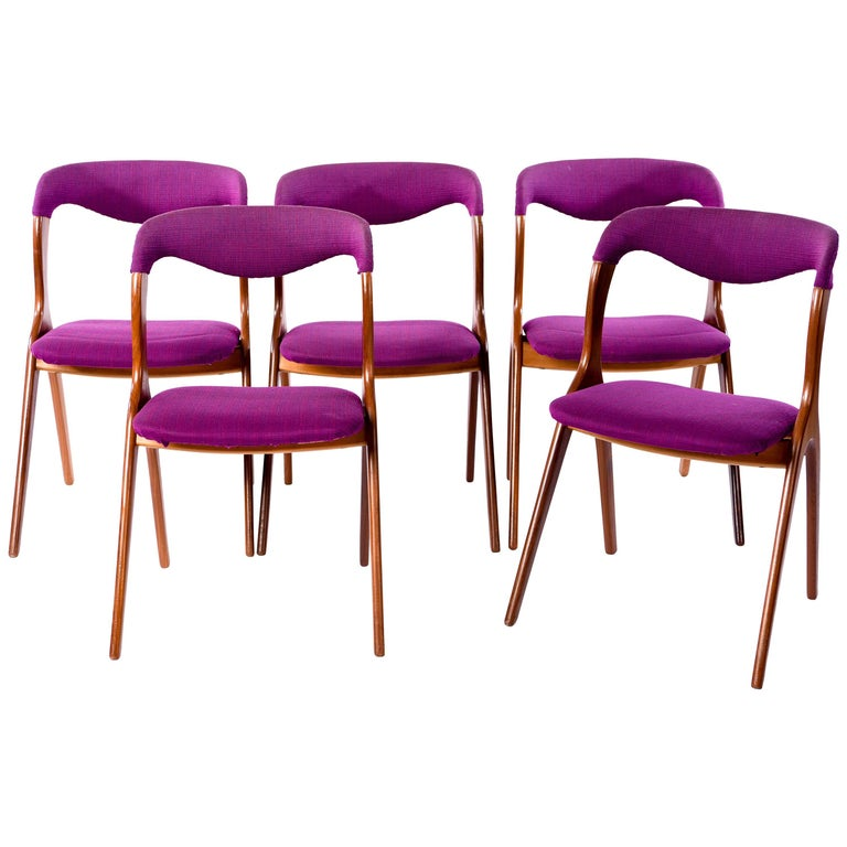 Set of Five Teak Side Chairs Attributed to Johannes Andersen