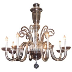 Monumental Large Elegant Crystal Glass Mid-Century Modern Eight-Light Chandelier