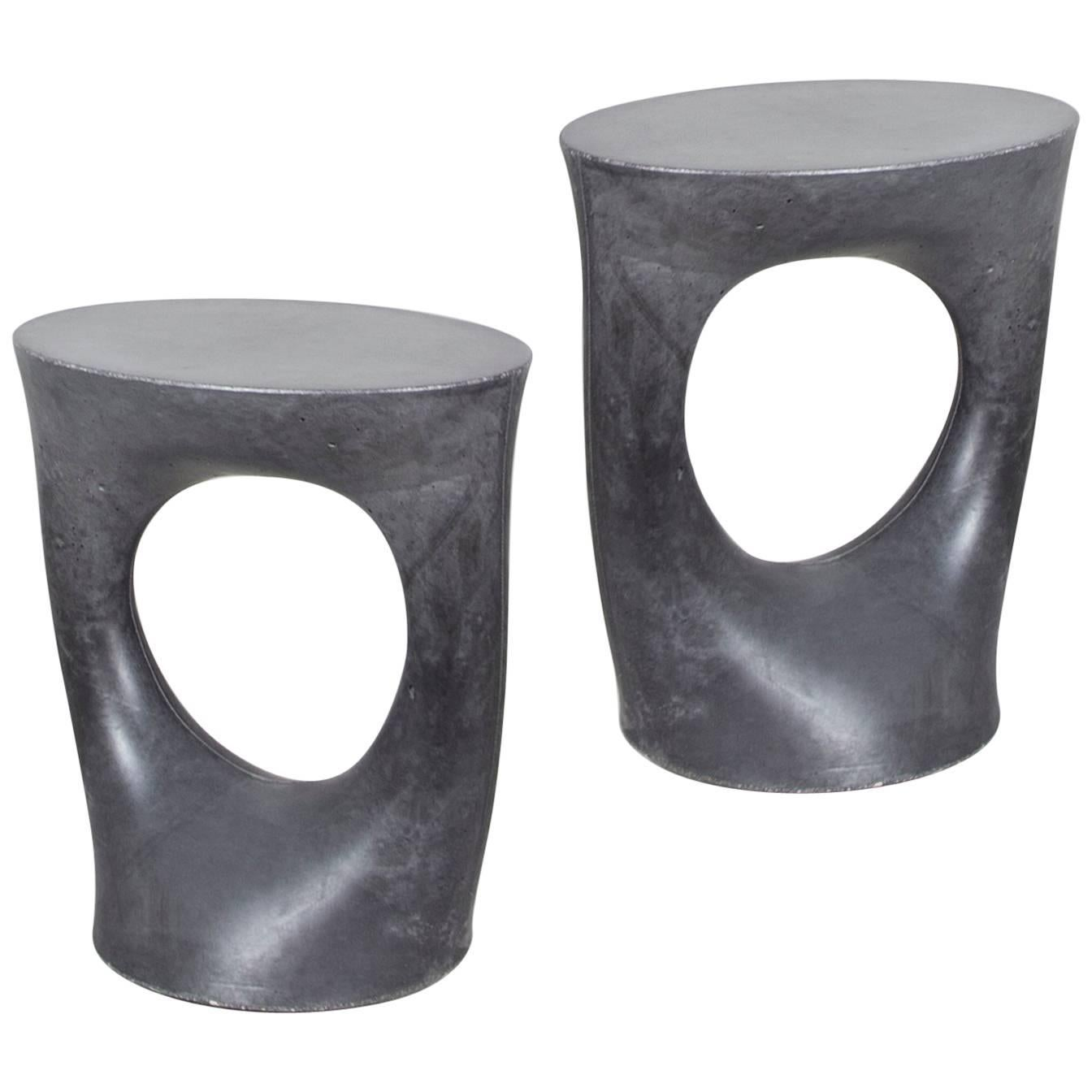 Pair of Charcoal Short Kreten Side Tables from Souda, Made to Order