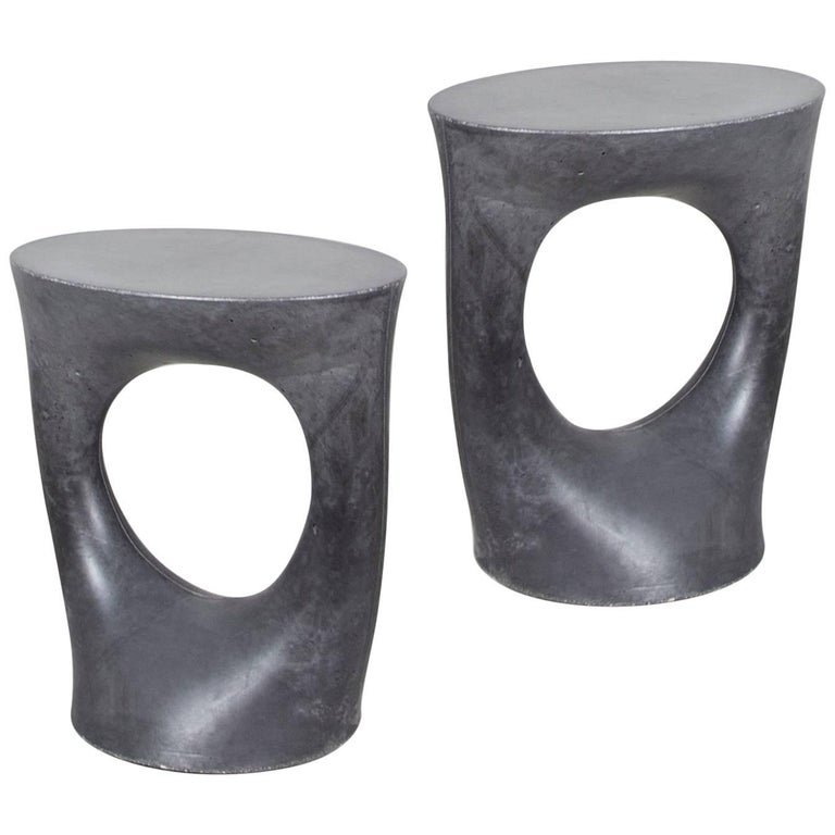 Pair of Charcoal Short Kreten Side Tables from Souda, Made to Order For Sale