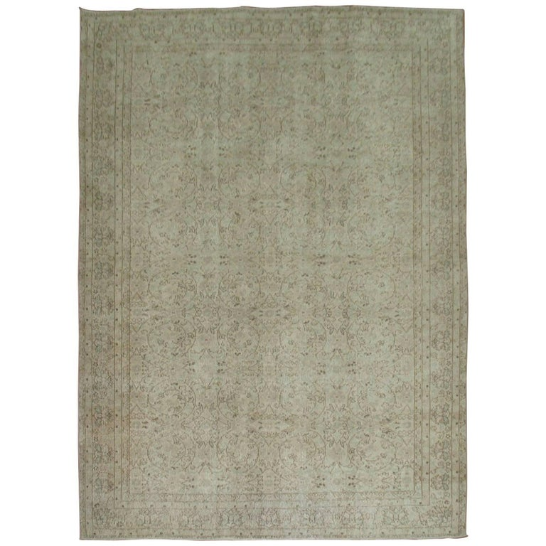 Shabby Chic Turkish Rug with White and Taupe Accents