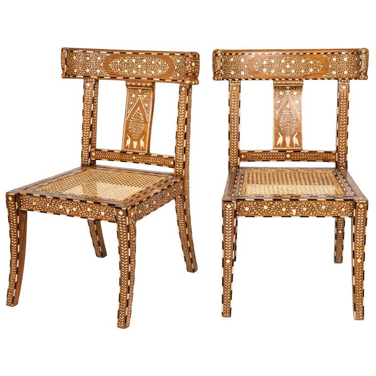 Pair of Bone Inlaid Armchairs