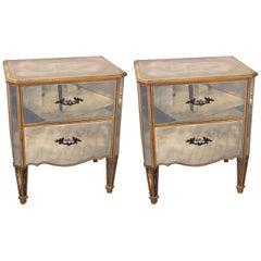 Pair of Hollywood Regency Style Vintage Mirrored End Tables or Nightstands