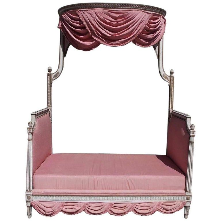 French Painted and Gilt Upholstered Fluted Floral Daybed, Circa 1840